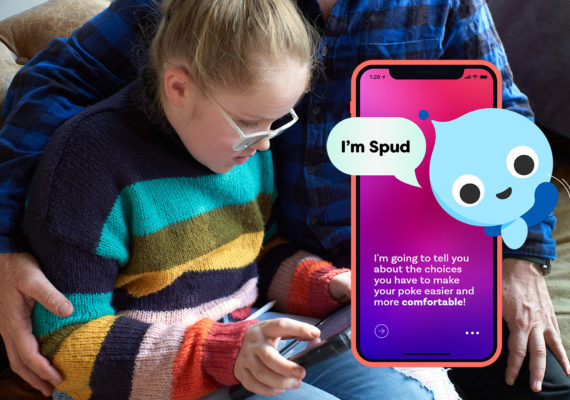 Comfort Quest - Young Girl Chatting With Spud On iPad
